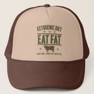 KETOGENIC DIET: Eat Fat - High Fat Life, Camo Cow Trucker Hat