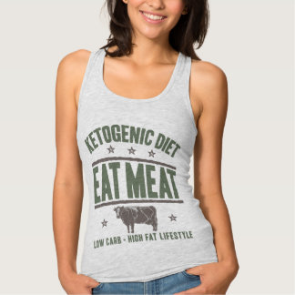 KETOGENIC DIET: Eat Meat - High Fat Life, Camo Cow Tank Top