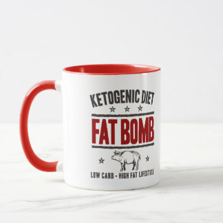 KETOGENIC DIET: Fat Bomb - Low Carb Life, Red Pig Mug
