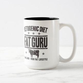 KETOGENIC DIET: Fat Guru - Eat Low Carb, Onyx Cow Two-Tone Coffee Mug