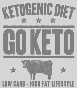 67ee5c12 KETOGENIC DIET: Go Keto - Cut Out Sugar, Gray Cow T-Shirt