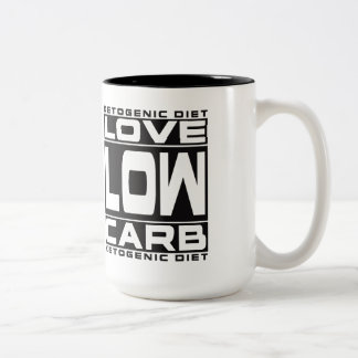 KETOGENIC DIET: I Love Low Carb & Blood Ketones! Two-Tone Coffee Mug