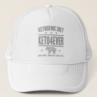 KETOGENIC DIET: Keto4Ever Cut Out Sugar, Gray Pig Trucker Hat