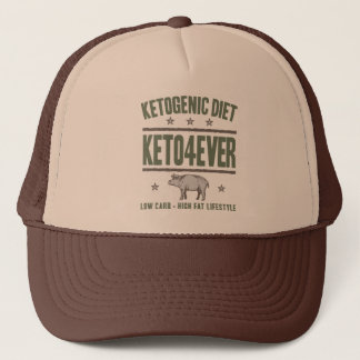 KETOGENIC DIET: Keto4Ever High Fat Life, Camo Pig Trucker Hat
