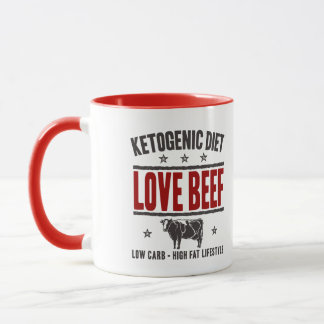 KETOGENIC DIET: Love Beef - Low Carb Life, Red Cow Mug