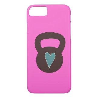 Kettlebell con un corazón funda iPhone 7