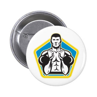 Kettlebell Exercise Weight Training Retro Pinback Buttons