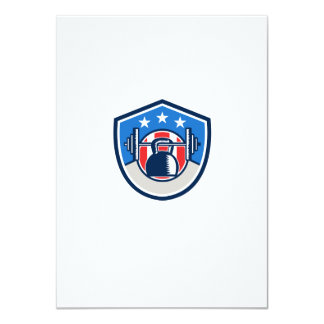 Kettlebell Hanging Barbell USA Flag Crest Retro Card