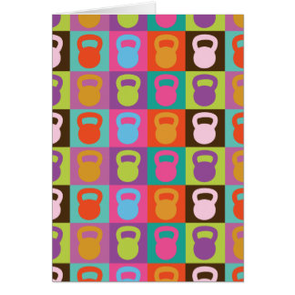 Kettlebell Retro Pattern - Greeting Cards