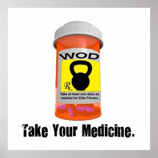 Kettlebell RX Bottle - Take Your Medicine Poster