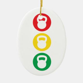 Kettlebell Traffic Light - Ready Set Go Ceramic Ornament