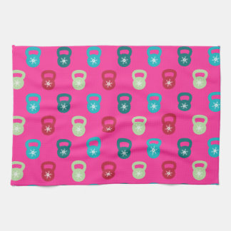 Kettlebell With A Cute Snowflake Kitchen Towel