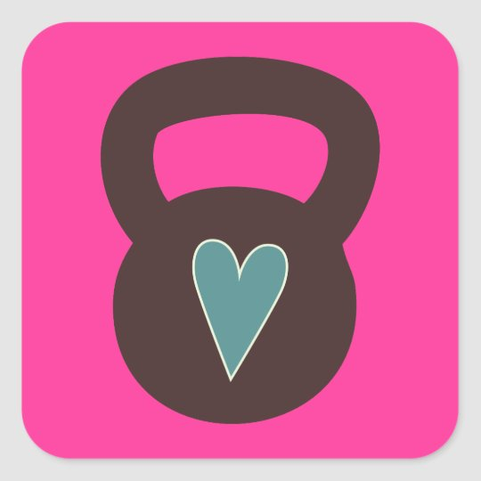 Kettlebell With A Heart Square Sticker