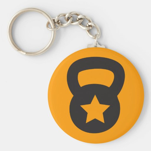 Kettlebell With An Empty Star Basic Round Button Keychain
