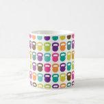 Kettlebells colorido para taza básica blanca