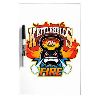 Kettlebells on fire dry erase board