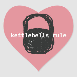 kettlebells rule stickers heart shape