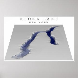 Keuka Lake 3d map Poster