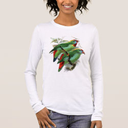 Women's Basic Long Sleeve T-Shirt with Keulemans' Philippine Hanging Parrot design