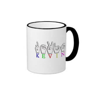 KEVIN FINGERS SPELLED NAME SIGN COFFEE MUGS
