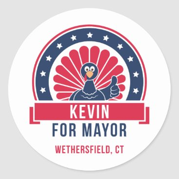USA Themed Kevin for Mayor of Wethersfield Sticker
