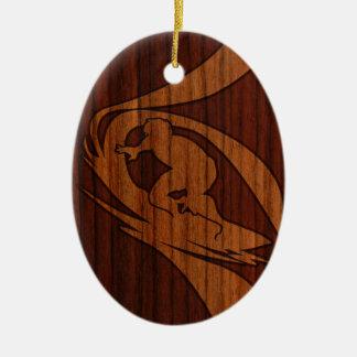 Kewalos Hawaiian Surfer Faux Wood Double-Sided Oval Ceramic Christmas Ornament