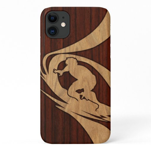 Kewalos Hawaiian Surfer Koa Faux Wood iPhone 11 Case
