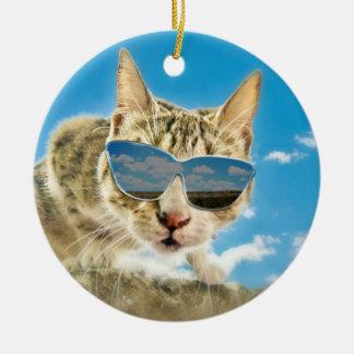 Kewl Kat que lleva Sunglassses Adorno Redondo De Cerámica
