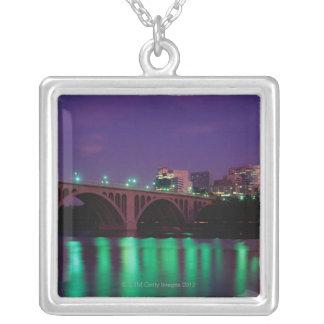 Key Bridge crossing the Potomac River Square Pendant Necklace