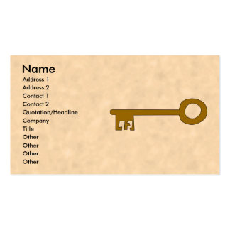 Key. Brown Key on Parchment Effect. Business Card
