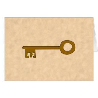 Key. Brown Key on Parchment Effect. Card