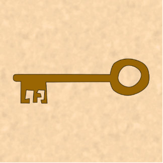 Key. Brown Key on Parchment Effect. Cutout