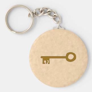 Key. Brown Key on Parchment Effect. Keychain