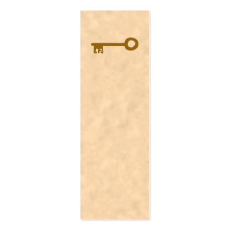 Key. Brown Key on Parchment Effect. Mini Business Card
