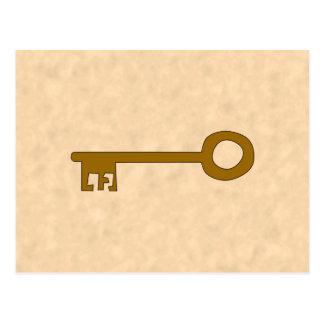 Key. Brown Key on Parchment Effect. Postcard
