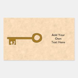 Key. Brown Key on Parchment Effect. Rectangular Sticker