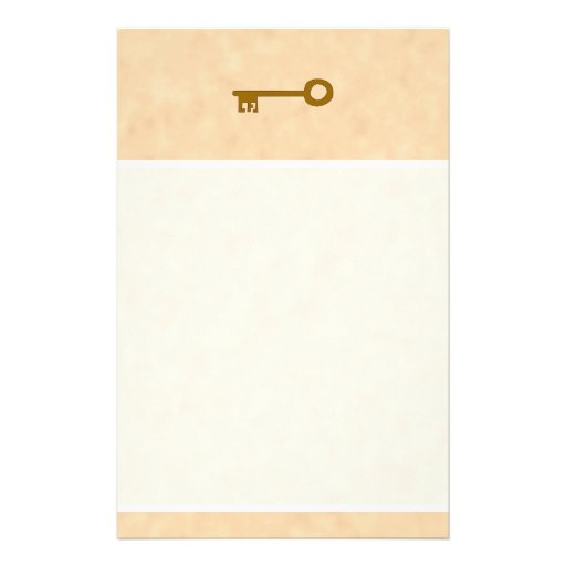 Key. Brown Key on Parchment Effect. Stationery Design