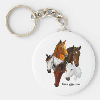 Key Chain, 5 Horse Heads Keychain