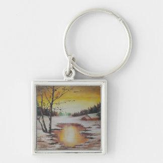 Key Chain Ann Hayes Painting Winter Scene