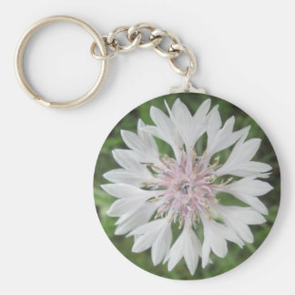 Key Chain - Basic - White/Pink Bachelor's Button