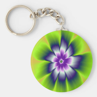 Key Chain  Blue Green and Violet Daisy Flower
