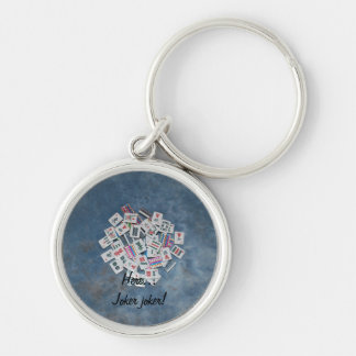 key chain-blue- here joker Silver-Colored round keychain