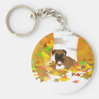 Key Chain - Boxer Dog Autumn Leaves