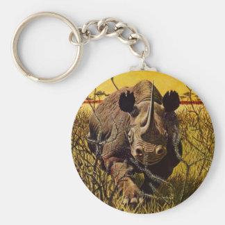 KEY CHAIN Charging Rhinoceros Rhino Safari Keys