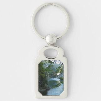 Key Chain--Cool Water Silver-Colored Rectangular Metal Keychain