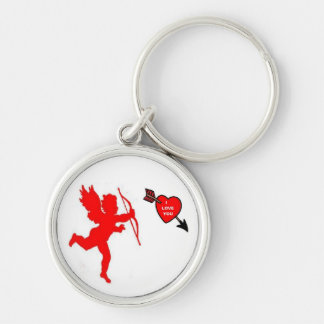 Key Chain Cupid and Heart Red