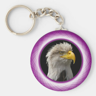 Key Chain  Green and Violet Woven Window