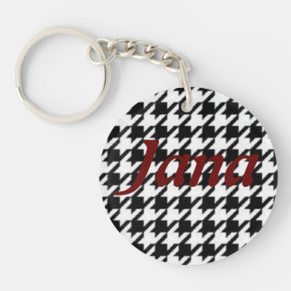 Key Chain in Houndstooth with Jana on front