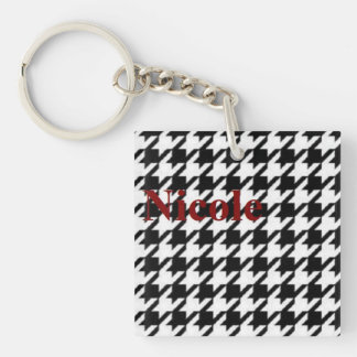 Key Chain in Houndstooth with Nicole on it