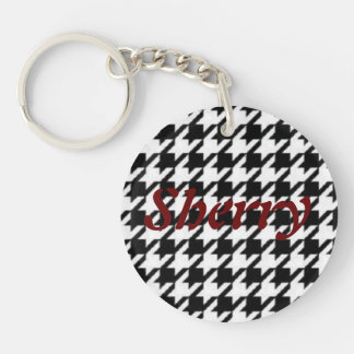 Key Chain in Houndstooth with Sherry on the front